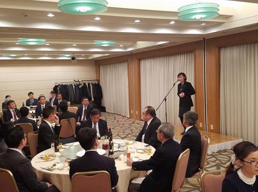 帯広建材協会新年交礼会の中川郁子(ゆうこ)写真