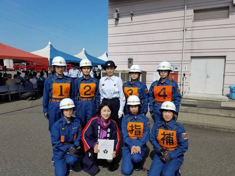 音更町消防団総合演習の中川郁子(ゆうこ)写真