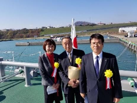 広尾海上保安署巡視船「とかち」就役式の中川郁子(ゆうこ)写真