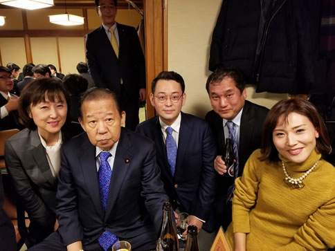 派閥の新年会の中川郁子(ゆうこ)写真