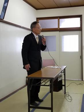 音更町松浦波雄町議会議員の町政報告会の中川郁子(ゆうこ)写真