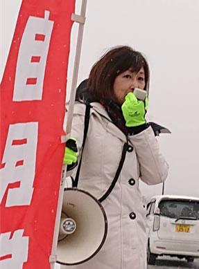 2019年街頭から年末のご挨拶の中川郁子(ゆうこ)写真