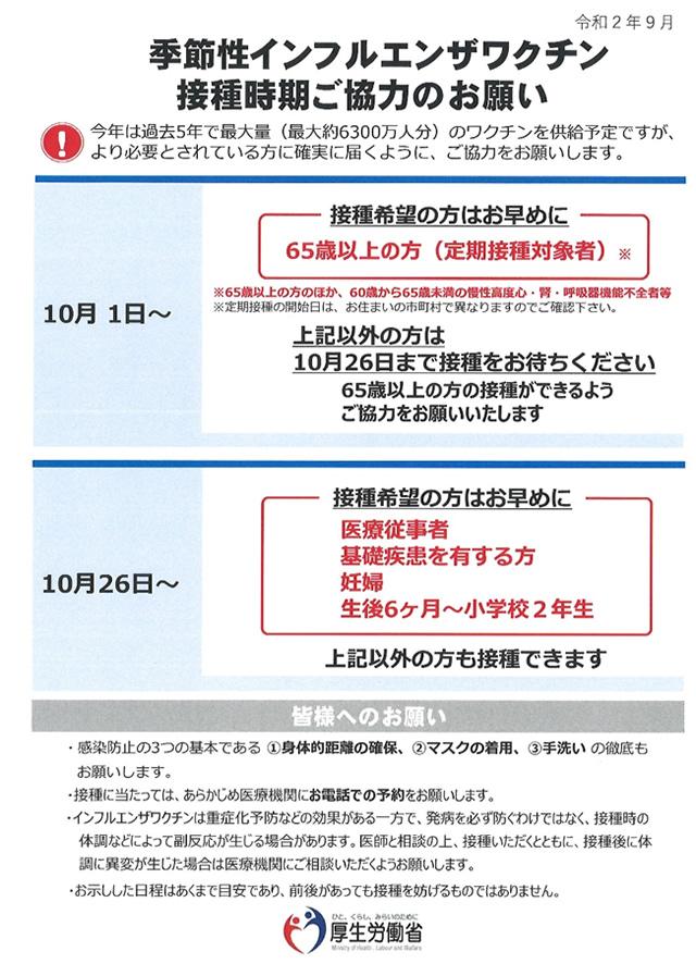 季節性インフルエンザワクチン接種時期ご協力のお願い