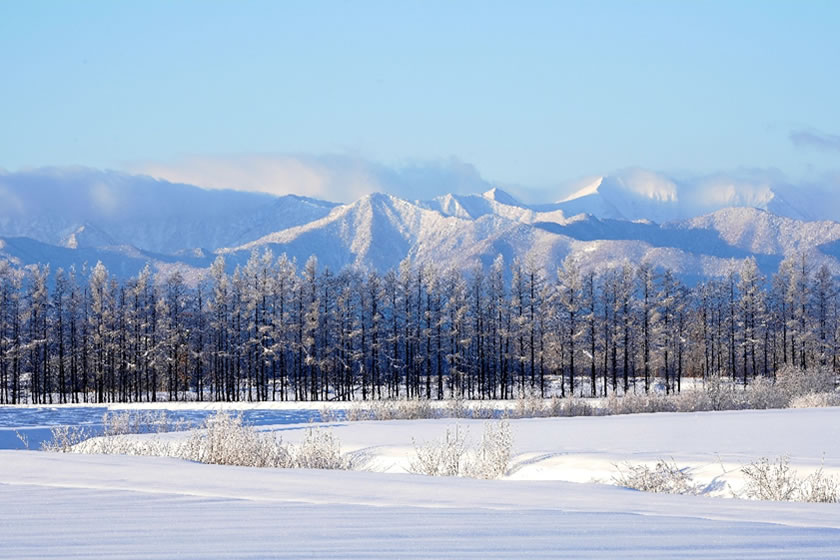 北海道十勝の日高山脈の雪景色