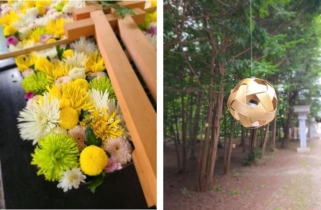 花とオブジェのイメージ写真