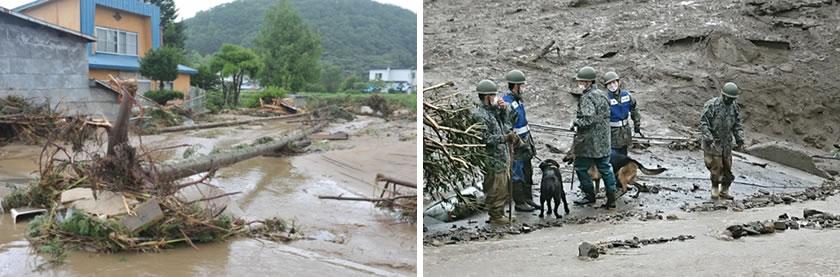 十勝地方、台風での洪水・土砂災害時の写真