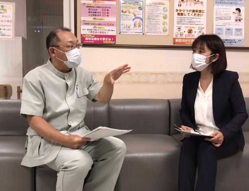 中川郁子(ゆうこ)が十勝歯科医師会会長の大滝達哉先生(おおたき歯科 院長)と対談した際の写真